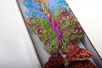 бабочки, шмели, пчёлы декоративная искусственная флористическая - бабочка на стикере  5 см   (24 шт.) 1104