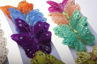 Декоративная искусственная флористическая - Бабочка на стикере  8 см  (24 шт.)