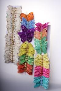бабочки, шмели, пчёлы декоративная искусственная флористическая - бабочка на стикере  8 см  (24 шт.) 1029