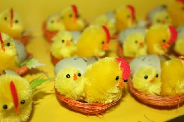 Декоративная искусственная флористическая - Птичка Цыпленок в гнезде (12шт) в ассортименте