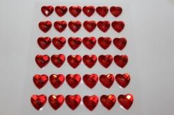 липучки декоративная липучка флористическая - 8698  наклейка сердца граненые красн. 12мм (36шт. в.уп.) 7387
