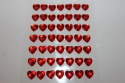 липучки декоративная липучка флористическая - 8704  наклейка сердца граненые красн. 8мм (49шт. в.уп.) 7386