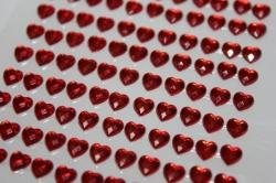 липучки декоративная липучка флористическая - 8728  наклейка сердца граненые красн. 5мм (121шт. в.уп.) 7385