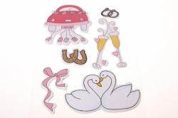 Декоративная Липучка флористическая - 9286 Наклейка Свадьба (6шт. в уп.)