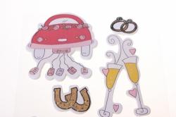 липучки декоративная липучка флористическая - 9286 наклейка свадьба (6шт. в уп.) 3029
