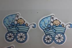 Декоративная Липучка флористическая - 9573 Наклейка Младенец в коляске
