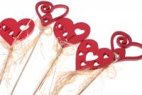 Декоративная Вставка флористическая - 4571 Вставка Сердце с Любовью блестками (12шт в уп)