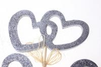 вставки декоративная вставка флористическая - 6714 вставка сердца двойные с блестками большие серебро (6шт в уп) 3033