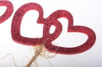 вставки декоративная вставка флористическая - 6738 вставка сердца двойные с блестками большие (6шт в уп) 2254