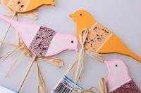 вставки декоративная вставка флористическая - 8408 вставка птичка розовая - оранжевая (12шт. в.уп.) 28992589