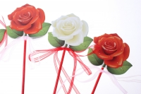 Декоративная Вставка флористическая - 8899 Вставка Роза с органзой (24 шт.в уп.)