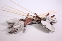 Декоративная Вставка флористическая - Бабочка деревянная с бантом 30см (12шт в уп) (Код 6764)