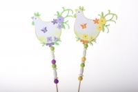 Декоративная Вставка флористическая - Курица с рисунком +подвеска органза (2шт в уп)