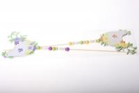 вставки декоративная вставка флористическая - курица с рисунком +подвеска органза (2шт в уп) 2270