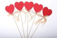 Декоративная Вставка флористическая - Сердце красное (12 шт в уп)
