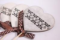 Декоративная Вставка флористическая - Сердце с бантом деревянное 30см (12шт в уп) (Код 6757)