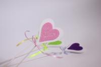 декоративная вставка флористическая - сердце с флоком 30см (12шт в уп) (код 8159)