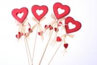 Декоративная Вставка флористическая - Вставка Сердце красное контурное с подвесками (12 шт)