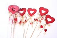 вставки декоративная вставка флористическая - вставка сердце красное контурное с подвесками (12 шт) 1698