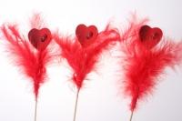 Декоративная Вставка флористическая - Вставка Сердце с перьями (12шт)