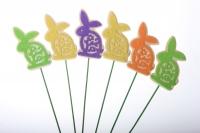 Декоративная Вставка флористическая - Зайцы с флокирой рисунок (24 шт в уп)
