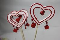 Декоративная Вставка Сердце контурное с каймой с подвеской с бусиной (12 шт.)
