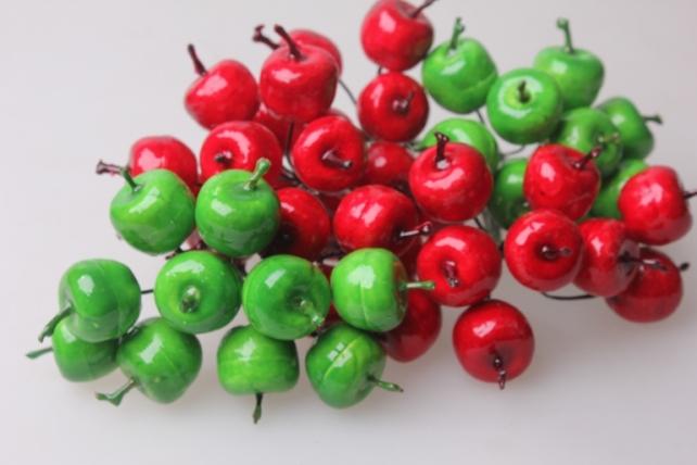 искусственные фрукты декоративные искусственные фрукты - 2482 яблоки зеленые 3,0 см (12 пучков по 12 шт.) 7106