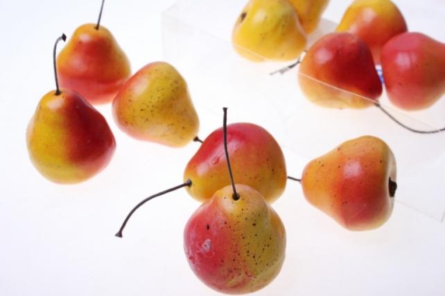 Декоративные Искусственные фрукты - Набор груш искусственных 4,5см (12шт) красно-желтая Груша GBD7246-2P
