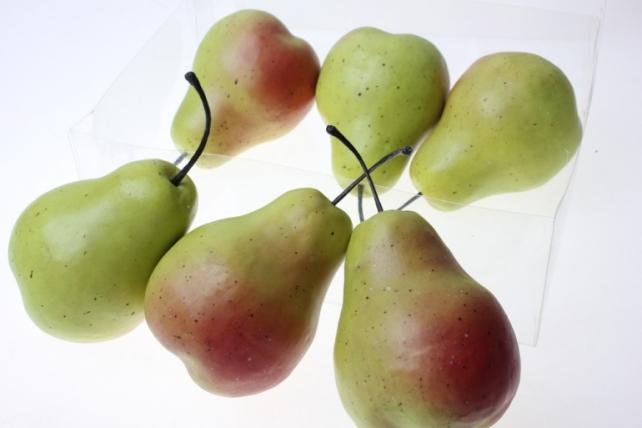 Декоративные Искусственные фрукты - Набор груш искусственных 8 см (6шт) зелено-красная Груша GBD7350-1P