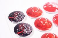 Декоративные наклейки - 6702  Наклейки Пуговицы на листе 2,5см (12шт в уп)