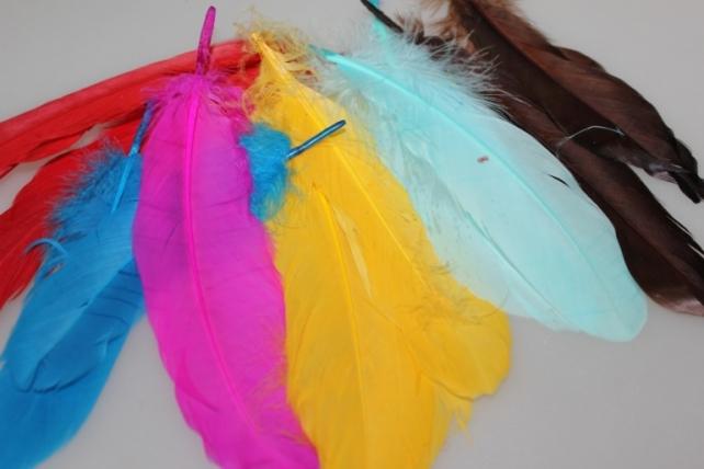 перья цветные в пакете (16 гр) декоративные перья цветные в пакете (16 гр) - голубой 7560