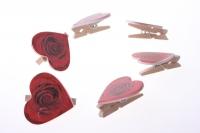 прищепки декоративные прищепки флористические - 4618 прищепка сердце с розой (12 шт. в уп.) 2579