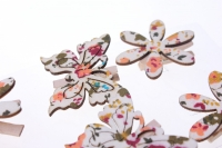 прищепки декоративные прищепки флористические - 9582 прищепка бабочка с цветочками (8шт. в уп.) 3026