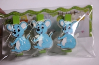 декоративные прищепки - мышки 4,5см дерево (3шт в уп) - код 9828