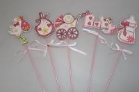 Декоративные вставки - 3841  Вставка Дети розовые (12 шт в уп)
