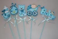 Декоративные вставки - 3858  Вставка Дети голубые (12 шт в уп)