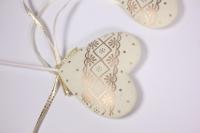 Декоративные вставки - 5582 Вставка Сердца шампань с золотом (12 шт в уп)