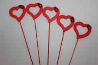 вставки декоративные вставки - 6510  вставка сердце контурное с божьей коровкой (12 шт в уп) 7374