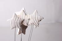 Декоративные вставки - Украшение тортов на Новый Год 2014 - 4240 Вставка Звезда с волнами белая-золото (12шт в уп)