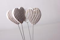 Декоративные вставки - Украшение тортов на Новый Год 2014 - 4387 Вставка Сердце с волной белая-золото (12шт в уп)