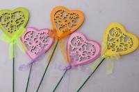 Декоративные вставки - Украшение тортов от Магазина флористики - 1640 Вставка Сердца с бабочками цветные (12 шт в уп)