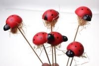 Декоративные вставки - Украшение тортов от Магазина флористики - 2523 Вставка Божья коровка красная (24шт в уп)