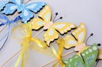 Декоративные вставки - Украшение тортов от Магазина флористики - 9580 Вставка Бабочка с бантом с блестк (12 шт в уп)