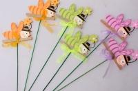 Декоративные вставки - Украшение тортов от Магазина флористики - 9894 Вставка Пчелка с бантом (12шт в уп)