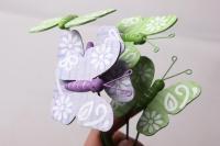 Декоративные вставки - Украшение тортов от Магазина флористики - 9917 Вставка Бабочка с цветами на пружинке (12 шт в уп)