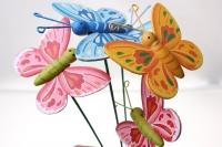 Декоративные вставки - Украшение тортов от Магазина флористики - 9931 Вставка Бабочки на пружинке цветные (12 шт в уп)