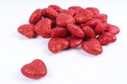 Декоративный наполнитель с глиттером (пенопласт) 2cm, красный, Сердца 3см  ABJ420530(А)