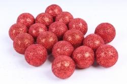 Декоративный наполнитель с глиттером (пенопласт) 2cm, красный, Шарики 3см  ABJ420530(А)