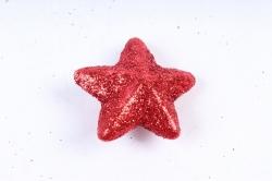 Декоративный наполнитель с глиттером (пенопласт) 2cm, красный, Звезды 3см  ABJ420530(А)
