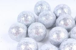 Декоративный наполнитель с глиттером (пенопласт) 2см, серебряный, Шарики 3см ABJ420520(А)